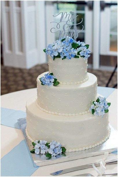 Wonderful Blue Hydrangea On Cake Wedding Flowers
