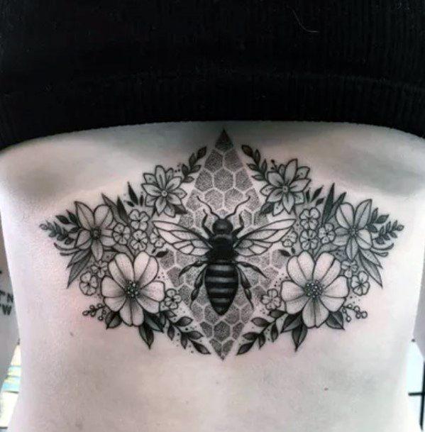 Wonderful Florals And Bee Tattoo Womens Torso