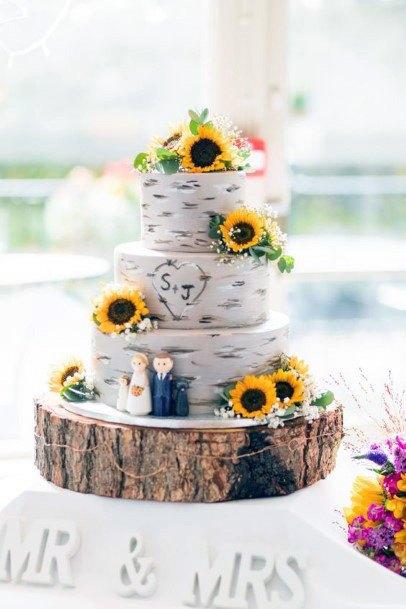 Wonderful Sunflower Wedding Cake Women