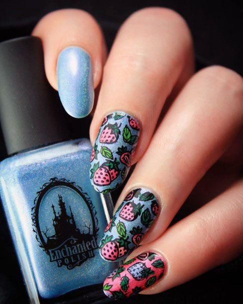 Wonderful Vibrant Blue Pink Strawberry Nail Design For Girls