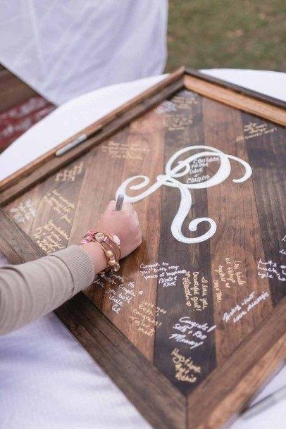 Wood Board Wedding Guest Book Ideas