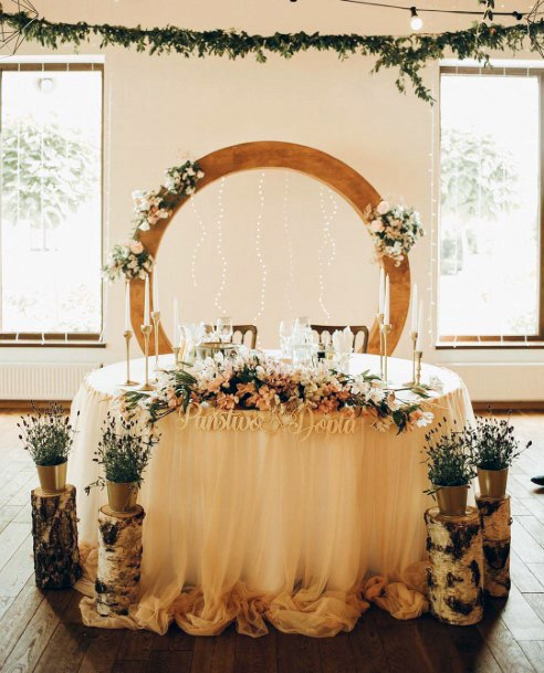 Wood Log Planter Stands Sweetheart Table Decorations Rustic Wedding Ideas