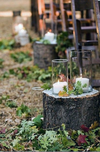 Wood Log With Candles And Fall Leaves Aisle Decor Rustic Wedding Ideas