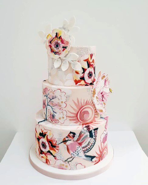 Wood Pecker And Flower Unique Wedding Cake