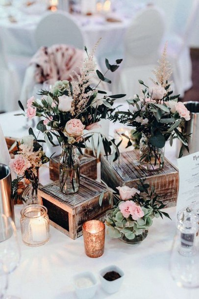 Wood Stands With Floral Vases Wedding Centerpiece Ideas