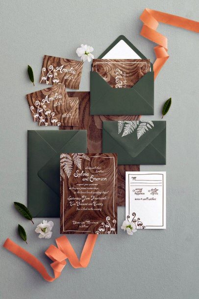 Wood Tone Invitation Suite With Green Envelopes Rustic Wedding Ideas
