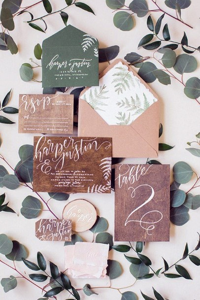 Wooden And Leafy Invitation Suite Rustic Wedding Ideas