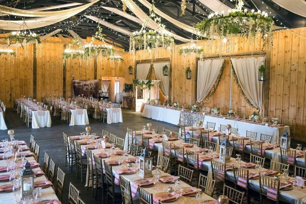 Wooden Barn With Greenery Chandeliers Rustic Wedding Ideas