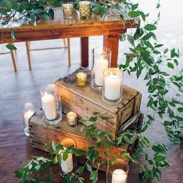 Wooden Box Candle Stands And Greenery Garland Decor Rustic Wedding Ideas
