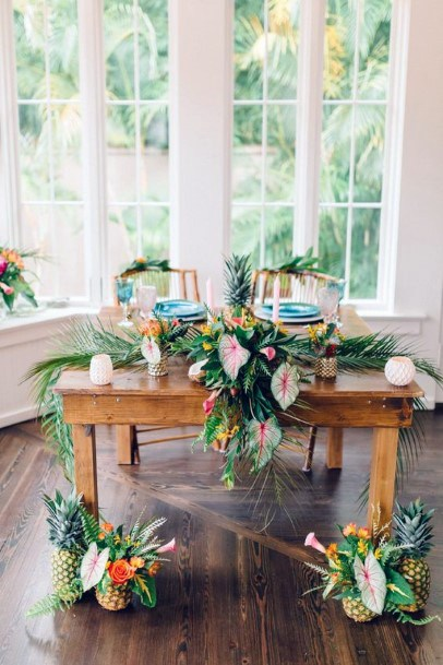 Wooden Dining Wedding Table With Tropical Flowers