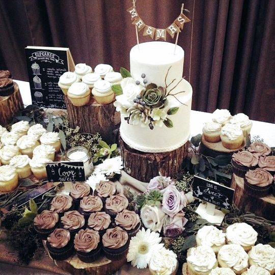 Wooden Elements Decor Dessert Table Rustic Wedding Ideas