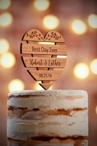 Wooden Heart Rustic Wedding Cake Toppers