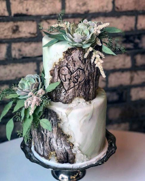 Wooden Log Cake With Rusic Flowers Wedding Idea
