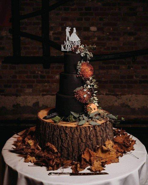 Wooden Log Halloween Wedding Cakes