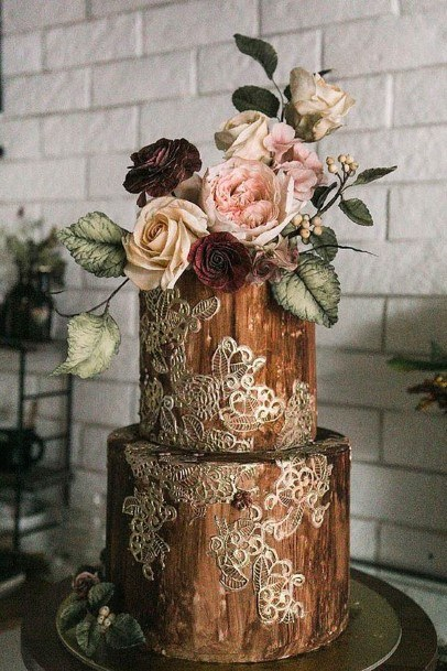 Wooden Log With Silver Design Country Wedding Cakes