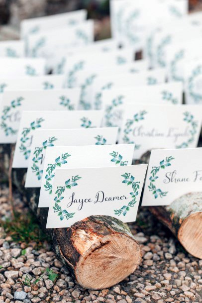 Wooden Logs Seat Card Holders Rustic Wedding Ideas