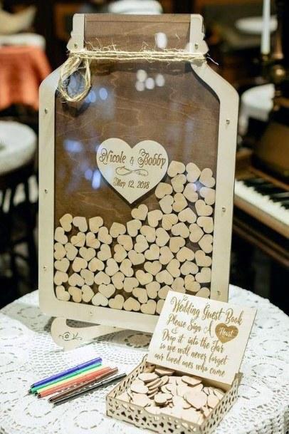 Wooden Mason Jar Drop Box Wedding Guest Book Ideas