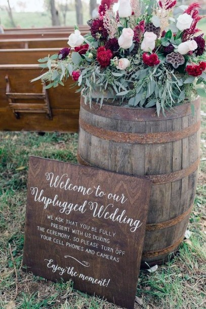 Wooden Signs And Wine Barrel Decorations Rustic Wedding Ideas