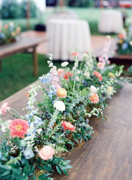Wooden Table And May Flower Decor Wedding Art