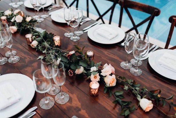 Wooden Table Beach Wedding Flowers Decor