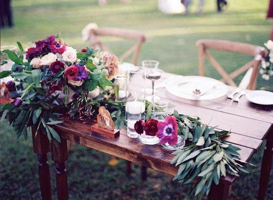 Wooden Table Hawaiian Wedding Flowers