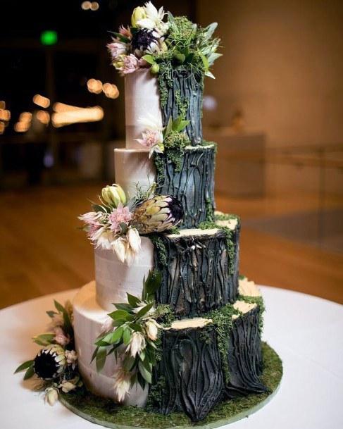 Woodsy Tree Bark Design Wedding Cake Ideas