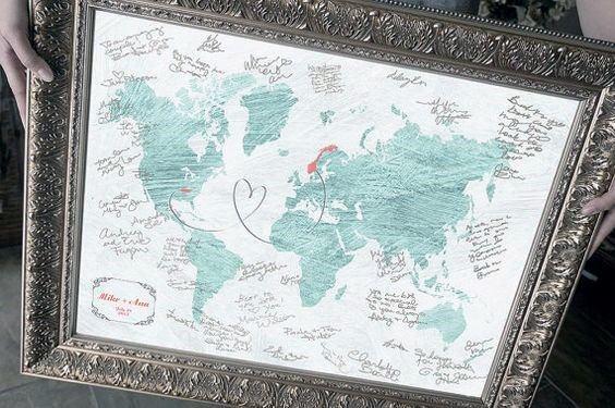 World Map Travel Themed Wedding Guest Book Ideas