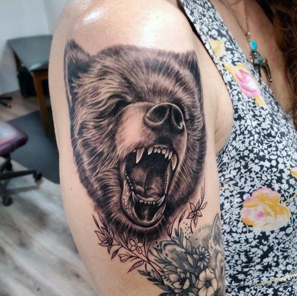 Yawning Furry Bear Tattoo Womens Arms