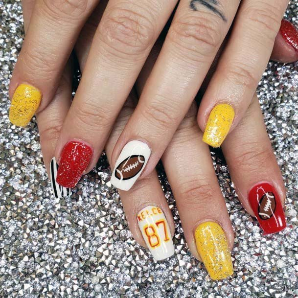Yellow And Red Basketball Nail Sport For Women