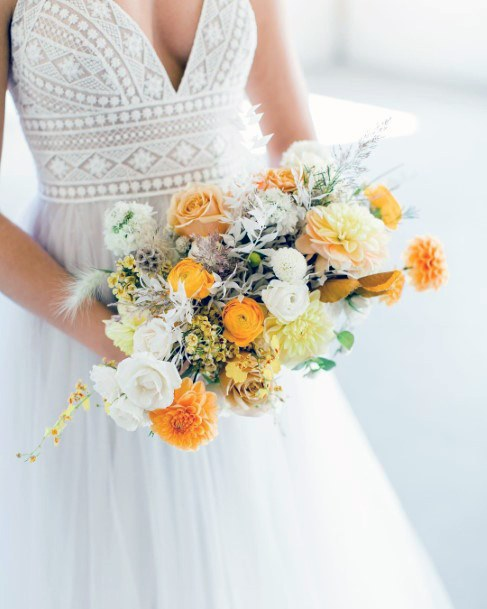 Yellow And White Weddng Flowers Bouquet
