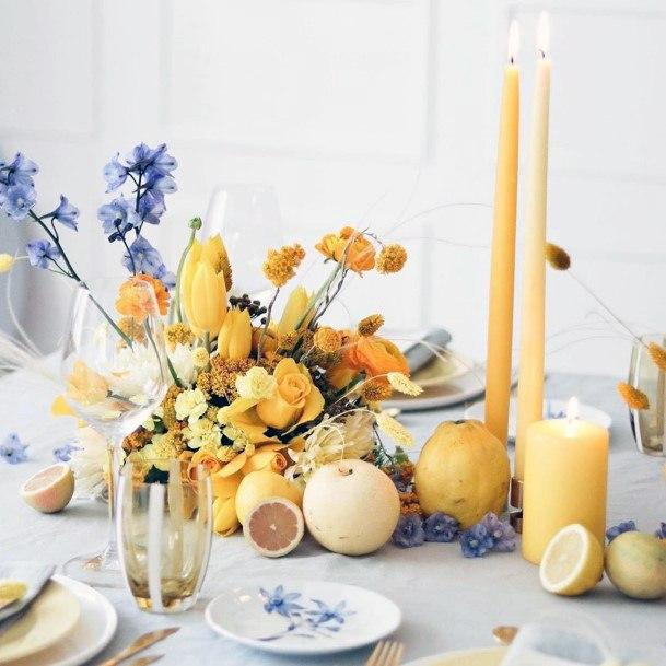 Yellow Candles Flowers Wedding