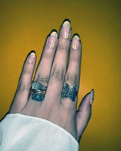 Yellow Florals On Natural Nail Ideas For Women