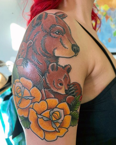 Yellow Flowers And Bear With Baby Tattoo For Women Arms Art