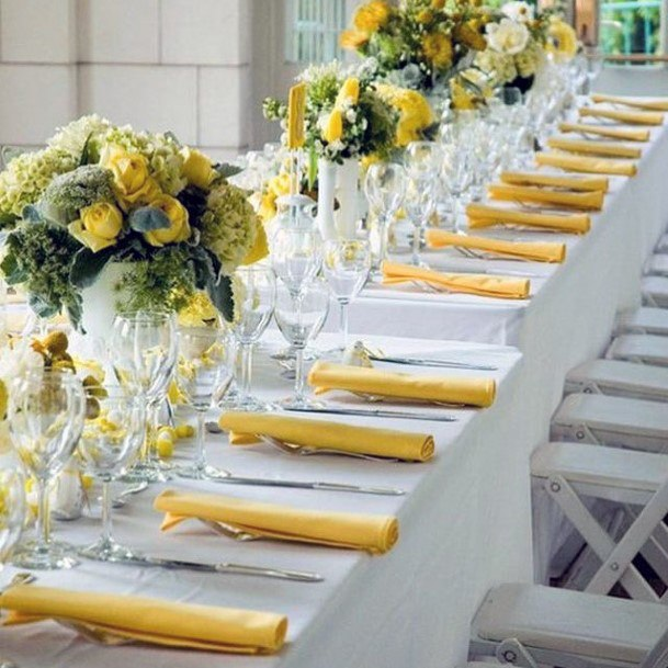 Yellow Flowers And Table Cloth Wedding