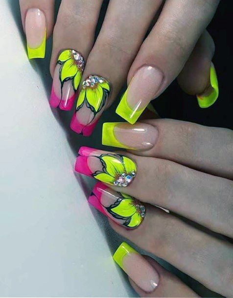 Yellow Flowers Colorful Nail Ideas For Women