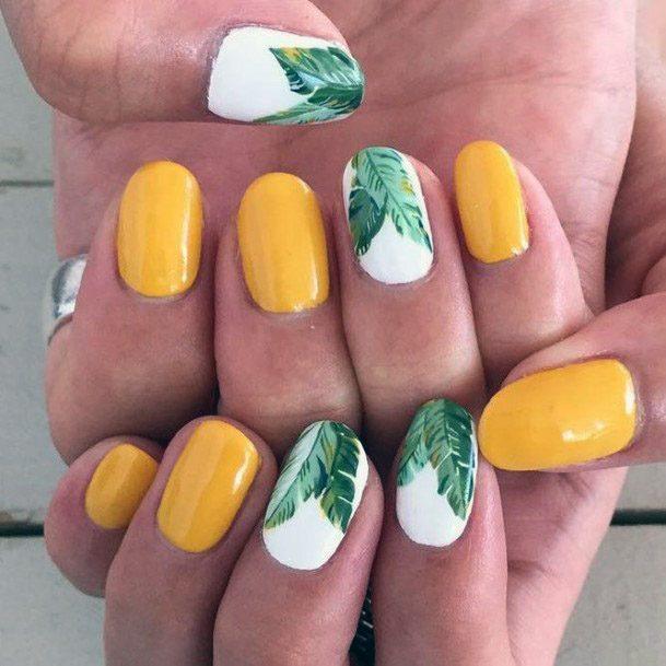 Yellow Green Tropical Nails Women