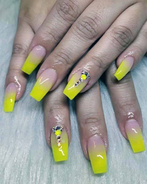 Yellow Ombre With Stones Bright Nails Art For Women