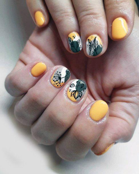 Yellow Short Nail Designs Women