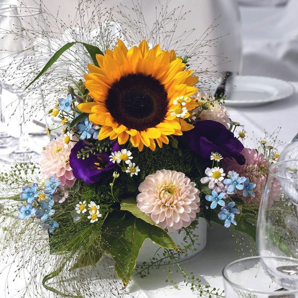Yellow Sunflower Weddng Flowers With Blues
