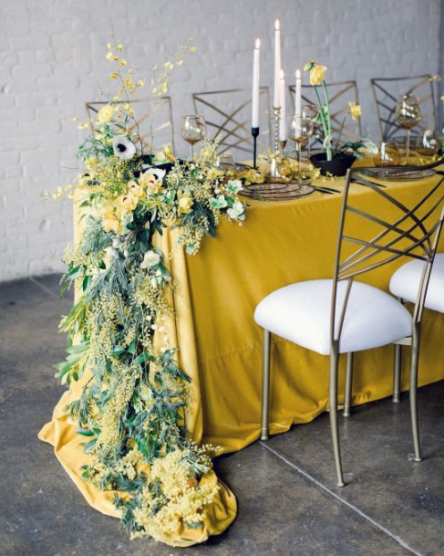 Yellow Table Cloth And Flowers Wedding