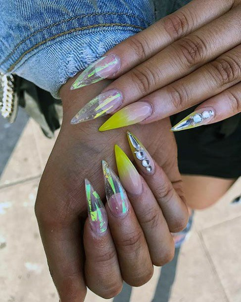 Yellow Tinged Iridescent Nails Women