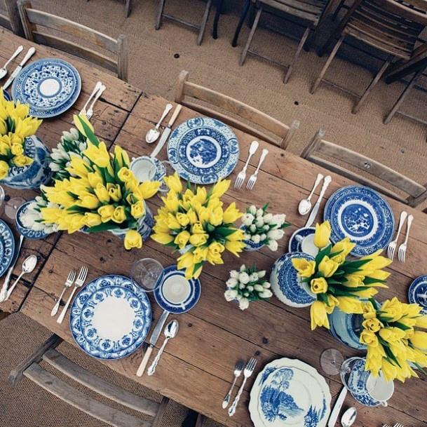 Yellow Tulips Wedding Flowers Dining