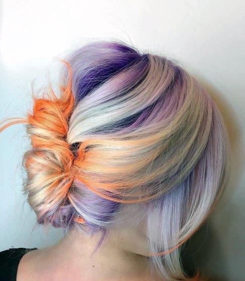 Youthful Loose Orange And Purple French Twist Inspiration For Teenage Girls