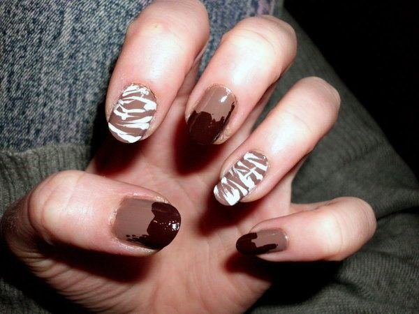Yummy Chocolate Sauce And Milk White Syrup On Nails Women