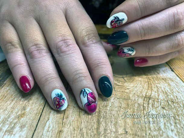 Yunny Cute Strawberry Cherry Nail Fruit Design For Ladies
