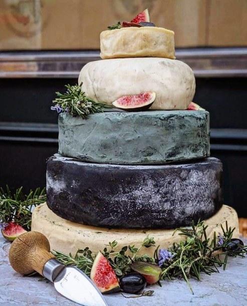 Zen Stone Cheese Rounds Unique Wedding Cake