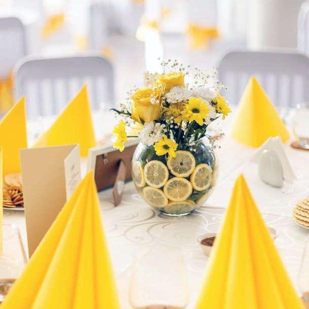 Zesty Lime And Yellow Flowers Wedding